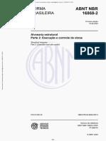 NBR 16868-2 - 2020 - Alvenaria Estrutural - Parte 2 Execução e Controle