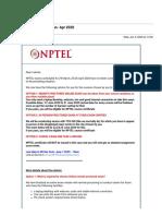NPTEL New Exam Dates - Jan- Apr 2020