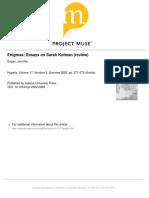 Enigma - Essays on Sarah Kofman