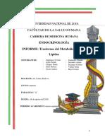 INFORME TRASTORNOS DEL METABOLISMO DE LOS LÍPIDOS....