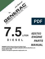 GENERAC 0D9727 Diesel Engine Parts Manual