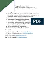 Servicio Social. UNAM, FFyL. Filosofía Mexicana.