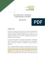 Raya Díez, E. (2004), Exclusión social y ciudadanía- claroscuros de un concepto.