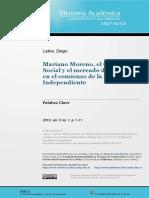 Labra, Mariano Moreno el contrato social y el mercado del impreso