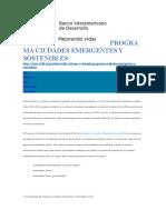 BID (s.f.) Programa ciudades emergentes y sostenibles