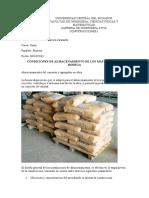 Condiciones de almacenamiento de los materiales en bodega
