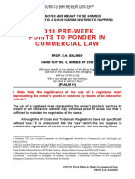 2019 Pre-week Points to Ponder in Commercial Law by Prof. Erickson Balmes