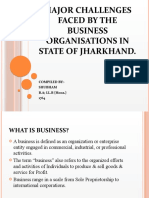 MAJOR CHALLENGES FACED BY BUSINESS ORGANISATIONS IN STATE OF JHARKHAND