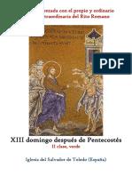 XIII Domingo Despues de Pentecostes. Propio y Ordinario de la santa misa rezada