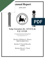 New Found Land Masonic Lodge Annual Report 2007