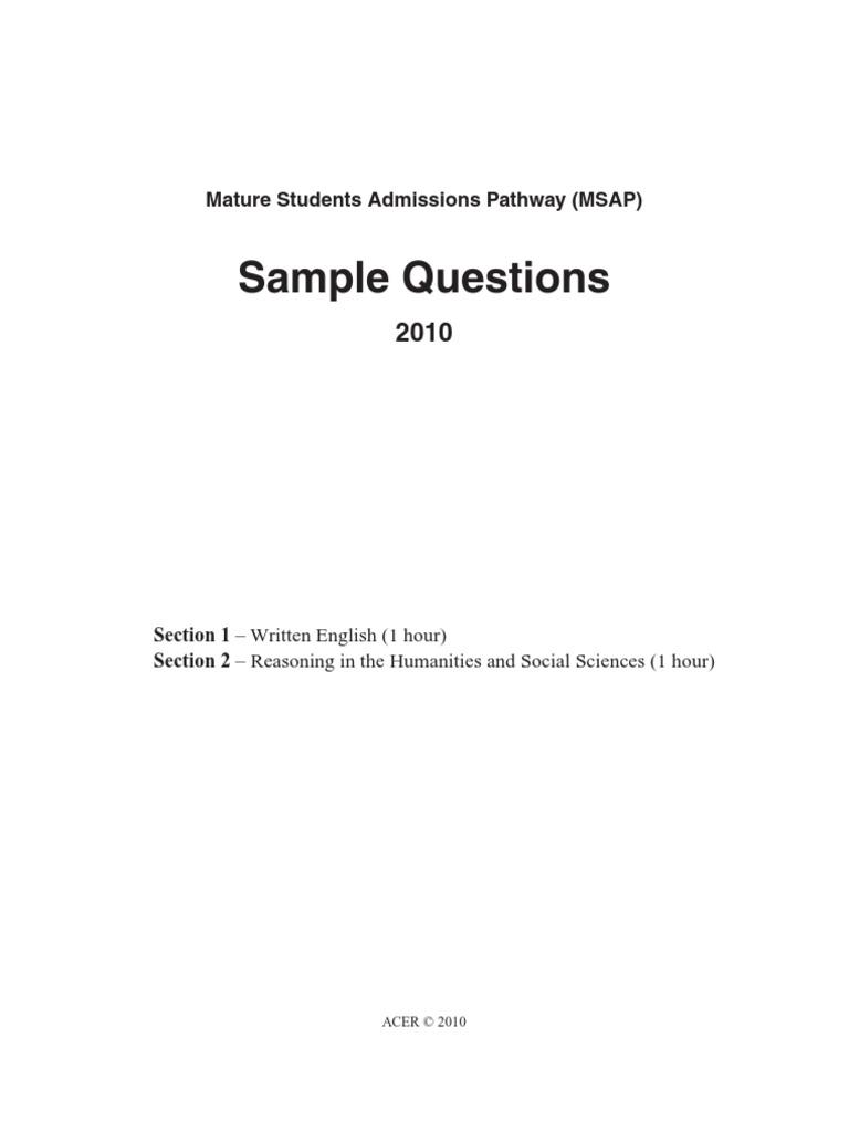Msap exam first essay