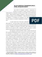 PLANO NACIONAL DE LOGÍSTICA E TRANSPORTE (PNLT)