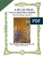 XIII Domingo Después de Pentecostes. Guía de los fieles para la santa misa cantada. Kyrial Orbis Factor