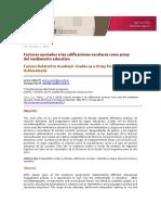 Factores asociados a las calificaciones escolares como proxy del rendimiento educativo. Tuñon, Poy, 2016