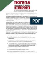 INFORMACIÓN GENERAL DE LA REUNIÓN CELEBRADA EL PASADO JUEVES 13 DE AGOSTO DEL 2020 ENTRE LA MILITANCIA DE MORENA EN JALISCO.
