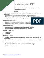 TIPOS DE INVESTIGACIONES SOCIALES