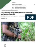 ONU condenó masacres y asesinatos de líderes sociales en Colombia - LARAZON.CO