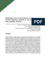 Experiencia piloto de restauración ecológica en la cantera Soratama, mediante el uso de biosólidos como enmienda orgánica (2008)