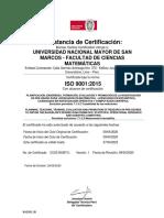 Constancia de Certificación ISO 9001 2015