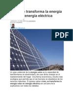 Cómo se transforma la energía solar en energía eléctrica
