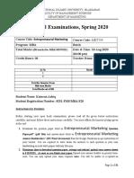 Entrepreneurial Marketing Answer-Booklet