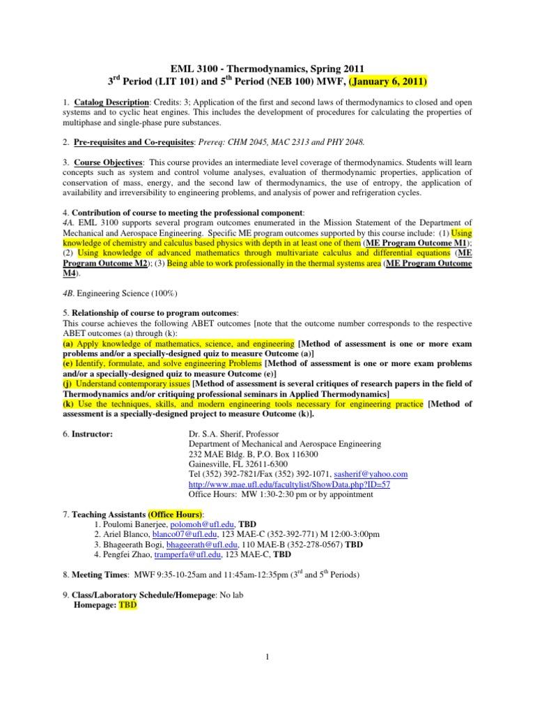 EML3100-Syllabus-Spring-2011-1-6-11   Second Law Of