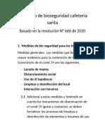 Protocolo de bioseguridad cafetería sarita