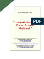 La Constitution selon Platon, Aristote, Machiavel - Durkheim.pdf