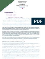 Communiqué de presse Autorité de la concurrence 20 Janvier 2011