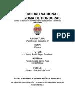 ENSAYO VISION Y PLAN DE NACION DE LA LEY DE EDUCION DE HONDURAS