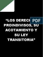 LOS DERECHOS PROINDIVISOS, SU ACOTAMIENTO Y SU LEY TRANSITORIA