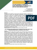 EFEITO DO MOLIBDÊNIO E NIÓBIO NA MICROESTRUTURA