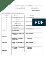 Cronograma de horários de Educação Física