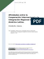 FAGABURU, Debora (2017). Afinidades entre la Cooperacion Internacional y la Integracion Regional en America Latina