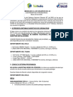 COMUNICADO 002 COVID 19 -USUARIOS TOLIHUILA- MARZO 26 -2020