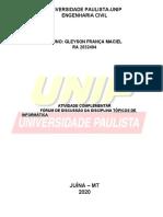 RELATORIO FORUM TOPICOS DE INFORMATICA