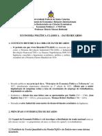 ECONOMIA POLÍTICA CLÁSSICA – DAVID RICARDO