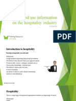 Source and use information on the hospitality industry SITHIND002 - Powerpoint