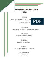 ENSAYO PRINCIPIOS Y FINES DE LA EDUCACIO INICIAL.. FILOSOFIA