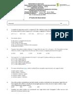 1ª Lista de Exercícios 2020.1 - ELETROELETRÔNICA - Turma 228 - TÉCNICO EM MECÂNICA