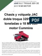 VOLQUETA JAC DOBLE TROQUE 3251 DE 28 TONELADAS O 18 M3 MOTOR CUMMINS _ credivehiculos