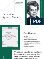Dorothy Johnson's Behavioral System Model