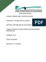 ENSAYO CLASIFICACION DE LAS SOCIEDADES MERCANTILES