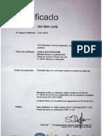 Certificado ISO 9001:2008 Cableski