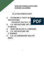 PROGRAMME DE FORMATION DES FEMMES LEADERS
