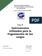 TEMA IV Instrumentos utilizados para la Organización de los cargos