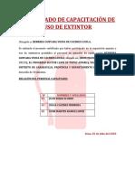 CERTIFICADO DE CAPACITACIÓN DE USO DE EXTINTOR