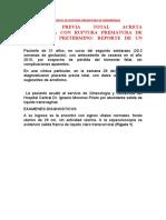 CASO CLÍNICO DE RUPTURA PREMATURA DE MEMBRANAS
