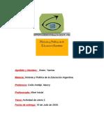 Actividad de cierre 2 Historia y Politica de la Educacion Argentina