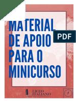 Material de apoio para o Minicurso de Italiano (Liceo)